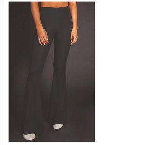 High waisted ribbed flare pants